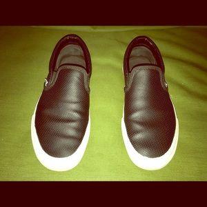 VANS - Black Leather slip-ons